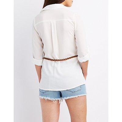 Belted Button-Up Pocket Shirt