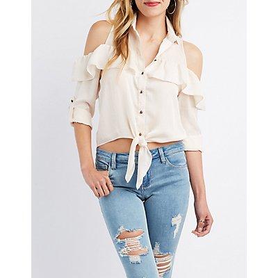 Satin Cold Shoulder Button-Up Blouse