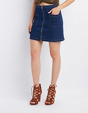Denim Zip-Front Skirt