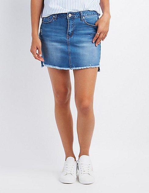 Destroyed Denim Mini Skirt | Charlotte Russe