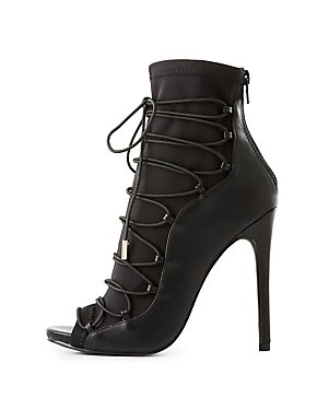 Peep Toe Lace-Up Dress Booties