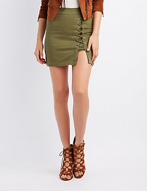 Lace-Up Detail Mini Skirt
