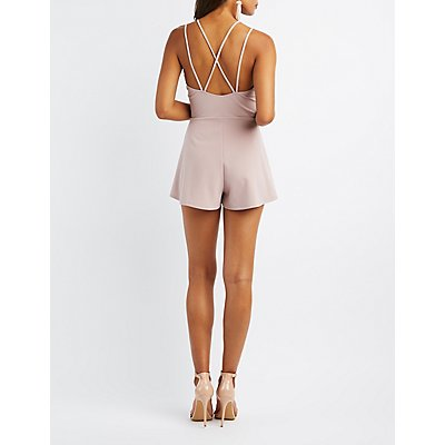 Strappy Lattice-Back Romper