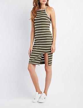 Striped Bib Neck Bodycon Slit Dress