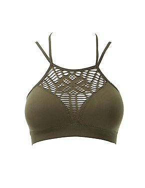 Strappy Destroyed Bib Neck Bralette