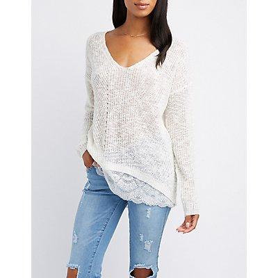 Lace-Trim Slub Knit Sweater