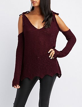 Scalloped Cold Shoulder Sweater