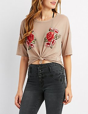 Floral Embroidered Mesh Knotted Tee