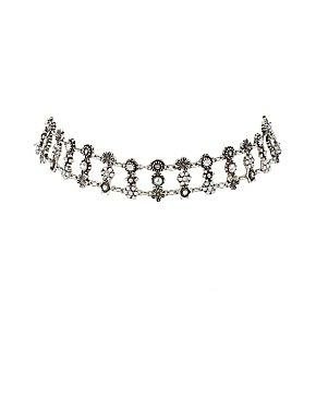 Embellished Stone Choker Necklace