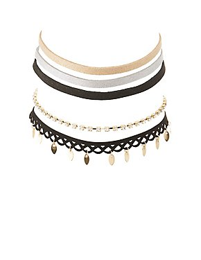 Faux Suede, Charm & Rhinestone Choker Necklaces - 5 Pack