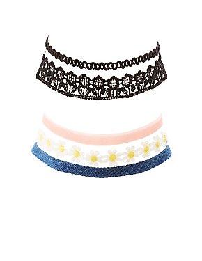 Lace, Woven, Velvet, & Denim Choker Necklaces - 5 Pack