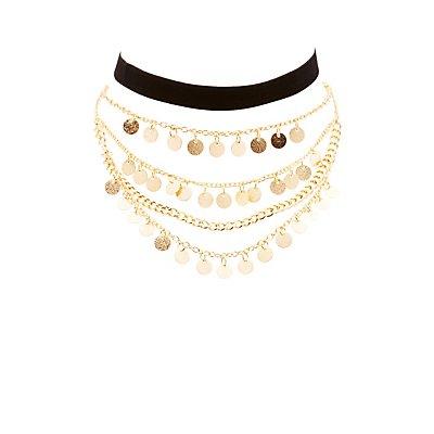 Embellished Layered & Velvet Choker Necklace - 2 Pack
