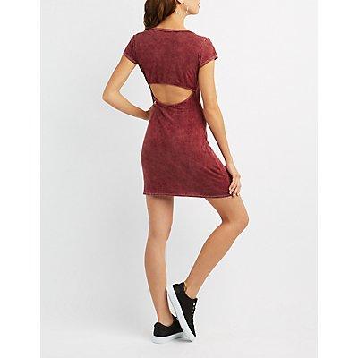 Caged Open-Back T-Shirt Dress