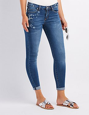 Embroidered Mid-Rise Skinny Jeans