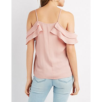 Ruffle Lace-Up Cold Shoulder Top