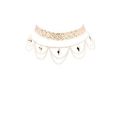Embellished Choker Necklaces - 2 Pack