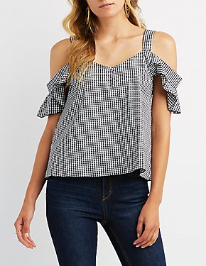 Gingham Cold Shoulder Top
