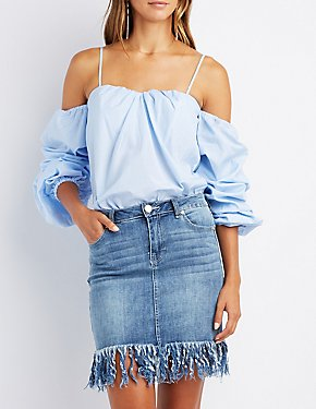 Striped Ruched Sleeve Cold Shoulder Top