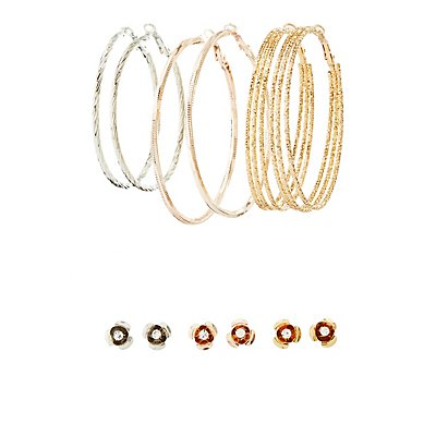 Rose Stud & Hoop Earrings - 6 Pack