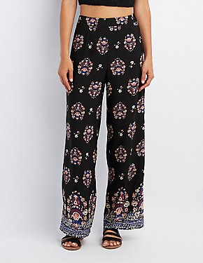 Border Print Wide-Leg Pants