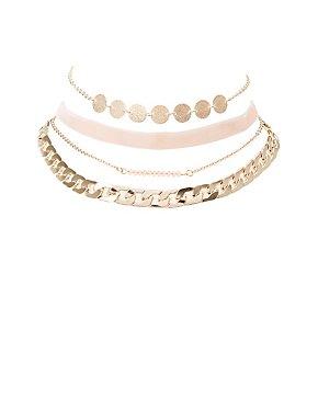 Beaded, Chainlink & Velvet Choker Necklaces - 4 Pack