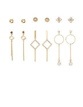 Geometric Stud & Drop Earrings - 6 Pack