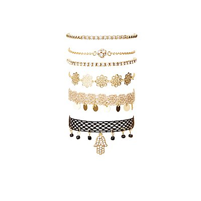 Embellished Hamsa Layering Bracelets - 6 Pack