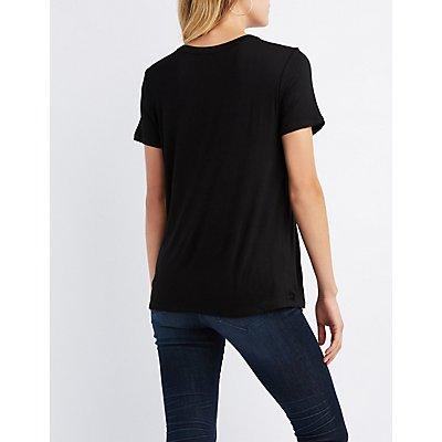 Grommet-Detail Cut-Out T-Shirt