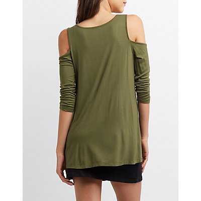 Cold Shoulder Scoop Neck Tee