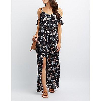 Floral Cold Shoulder Overlay Maxi Dress