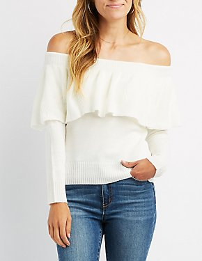 Ruffle-Trim Off-The-Shoulder Sweater