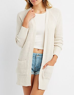 Lace-Up Back Longline Cardigan