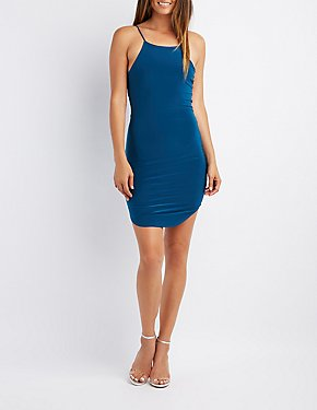 Caged Bib Neck Bodycon Dress