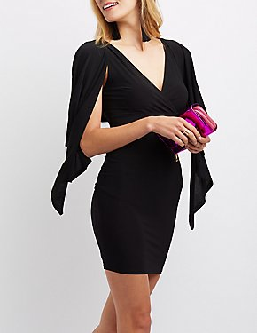 Caped Surplice Bodycon Dress