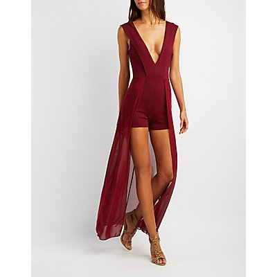 Plunging V-Neck Layered Maxi Romper