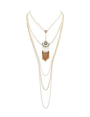 Rhinestone Layered Pendant Necklace