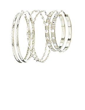Textured & Embellished Hoop Earrings - 3 Pack