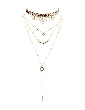 Embellished Choker & Layered Pendant Necklaces - 2 Pack