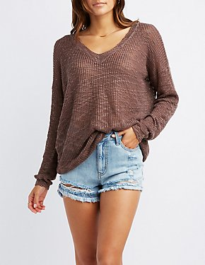 Slub Knit Open Back Sweater