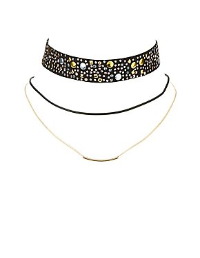 Embellished & Layered Choker Necklaces - 2 Pack