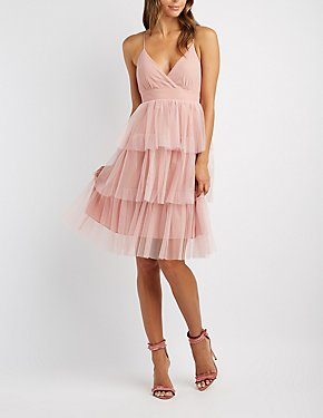Tiered Tulle Midi Dress