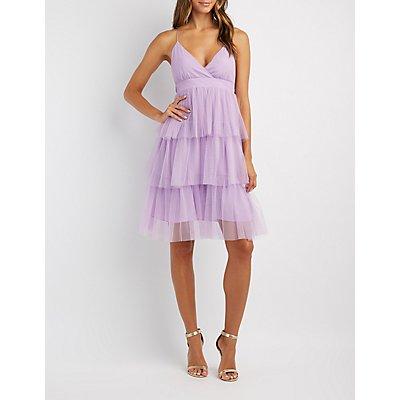 Tiered Tulle Midi Dress