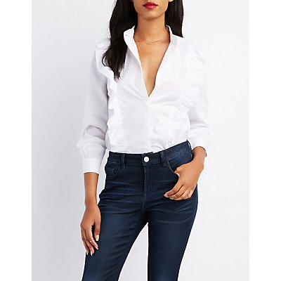 Ruffle-Trim Button-Up Shirt