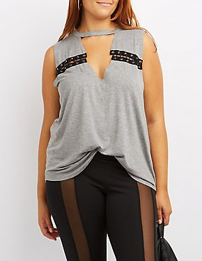 Plus Size Lace-Up Detail Tank Top