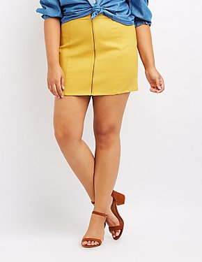 Plus Size Twill Zip-Front Skirt