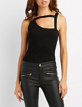 Ribbed Cut-Out Tank Top