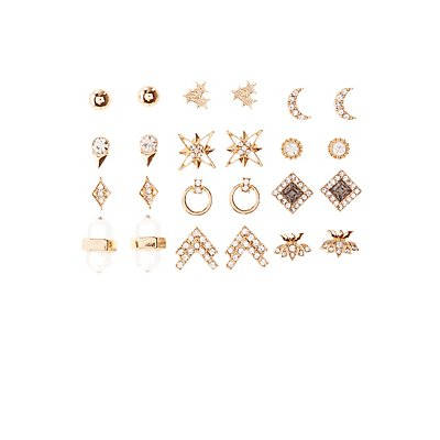 Embellished Stud Earrings -12 Pack