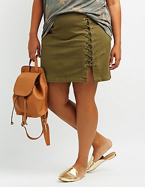 Plus Size Lace-Up Mini Skirt