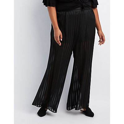 Plus Size Shadow Stripe Wide-Leg Pants