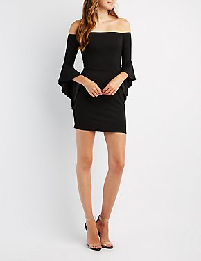 Off-The-Shoulder Cascade Sleeve Bodycon Dress